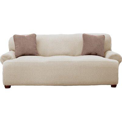 Savannah Popcorn Sofa Slipcover Upholstery: Ivory
