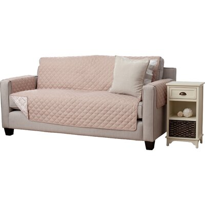 Adalyn Diamond Geo Box Cushion Sofa Slipcover Upholstery: Taupe
