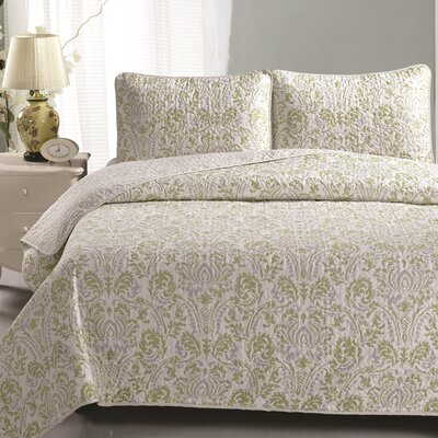 Martinique Quilt Set Color: Green / Gray, Size: King