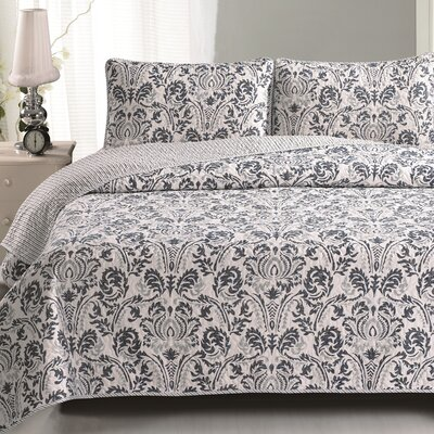 Martinique Quilt Set Size: Full / Queen, Color: Blue / Gray