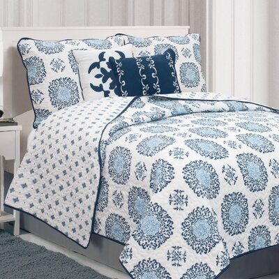 Raguel Quilt Set Size: Full / Queen, Color: Navy