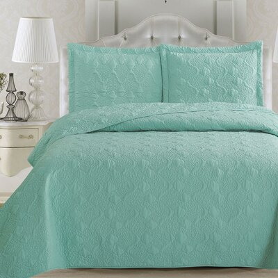 Rossa Quilt Set Size: King, Color: Seagreen