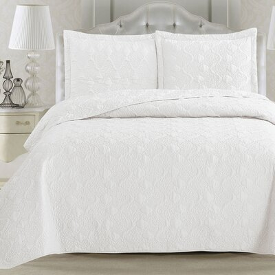 Rossa Quilt Set Size: Twin, Color: Optic White