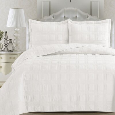 Terra Quilt Set Size: King, Color: Optic White