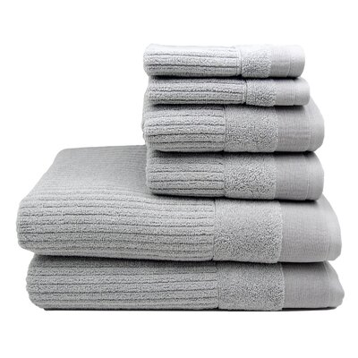 Diamante 6 Piece Towel Set Color: Glacier Gray