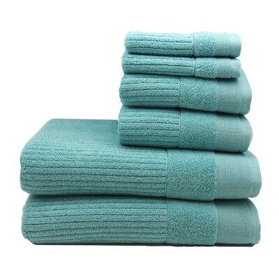 Diamante 6 Piece Towel Set Color: Porcelain Blue