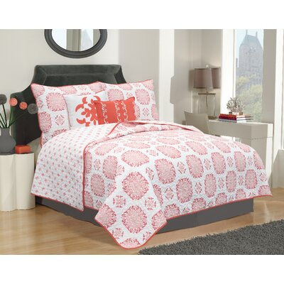 Raguel Quilt Set Size: Twin, Color: Coral