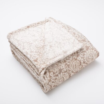 Bella Seville Ultra Velvet Plush Super Soft Fleece Blanket Color: Taupe, Size: King