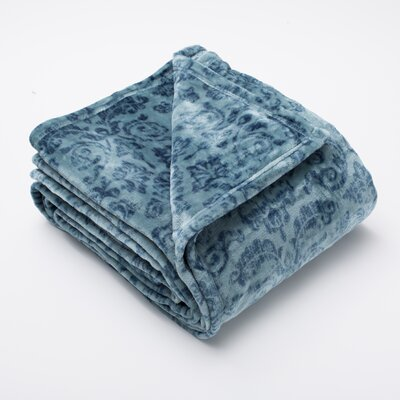 Katrina Fleur Ultra Velvet Plush Super Soft Fleece Blanket Color: Teal / Smoke, Size: Twin