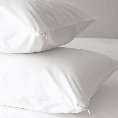 Premium 500 Thread Count Zippered Pillow Protector Size: King