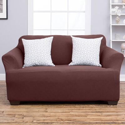 Cambria Loveseat Slipcover Upholstery: Chocolate