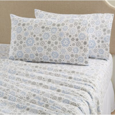 Aspen Super Warm Printed Flannel Sheet Set Color: Snowflake, Size: King