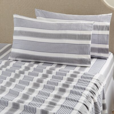 Aspen Super Warm Printed Flannel Sheet Set Color: Stripe - Gray, Size: Full
