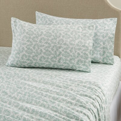 Aspen Super Warm Printed Flannel Sheet Set Color: Paisley - Gray, Size: Queen