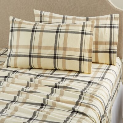 Aspen Super Warm Printed Flannel Sheet Set Color: Plaid - Flax, Size: King