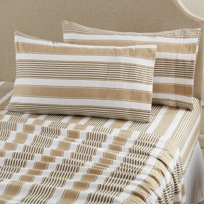 Aspen Super Warm Printed Flannel Sheet Set Color: Stripe - Taupe, Size: Queen