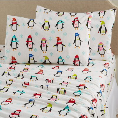 Aspen Super Warm Printed Flannel Sheet Set Color: Penguins, Size: Full
