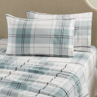 Aspen Super Warm Printed Flannel Sheet Set Color: Plaid - Blue, Size: Queen
