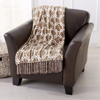 Orleans Ultra Velvet Plush Super Soft Printed Blanket Color: Simply Taupe