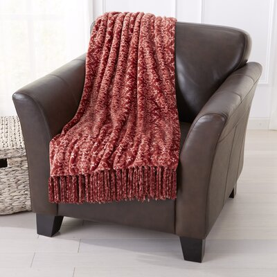 Orleans Ultra Velvet Plush Super Soft Printed Blanket Color: Marsala Red