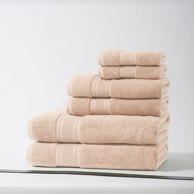 Lucca Luxury Turkish Cotton 6 Piece Towel Set Color: Shell Coral