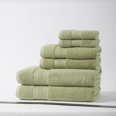 Lucca Luxury Turkish Cotton 6 Piece Towel Set Color: Thyme