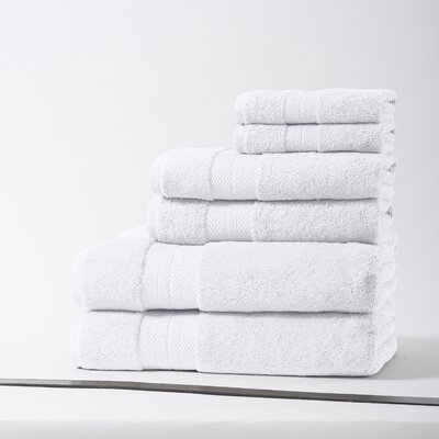 Geneva Luxury 100% Turkish Cotton 6 Piece Towel Set Color: White