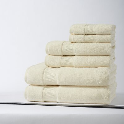 Santorini Luxury 100% Turkish Cotton 6 Piece Towel Set Color: Ivory