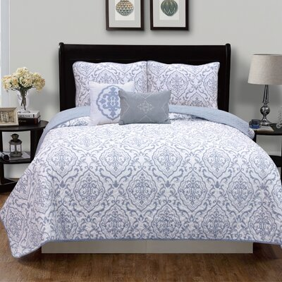 Deena Quilt Set Size: Twin, Color: Gray
