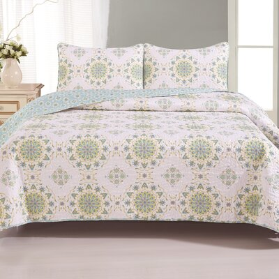 Brayman Quilt Set Color: Green / White, Size: King