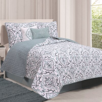Deena Quilt Set Size: Twin, Color: Blue