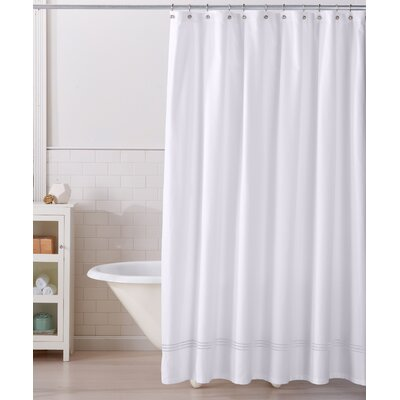 Aurora 100% Cotton Shower Curtain Color: White/White