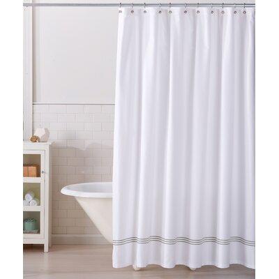 Aurora 100% Cotton Shower Curtain Color: White/Gray