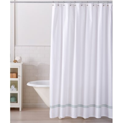 Aurora 100% Cotton Shower Curtain Color: White/Blue Haze
