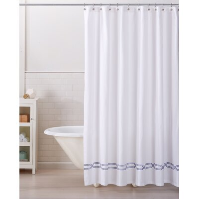 Lucianna 100% Cotton Shower Curtain Color: White/Navy