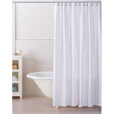 Monroe 100% Cotton Shower Curtain Color: Bright White
