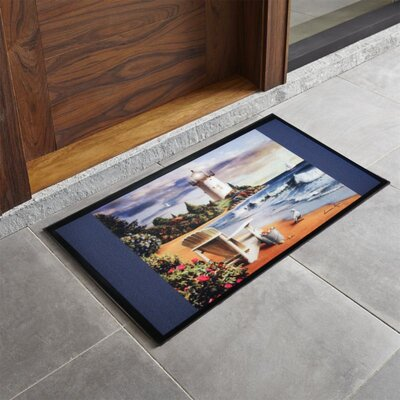 Bora Bora Lighthouse Printed Outdoor Welcome Door Mat
