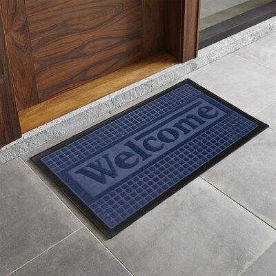 Trenton Sculpted Welcome Doormat Color: Navy