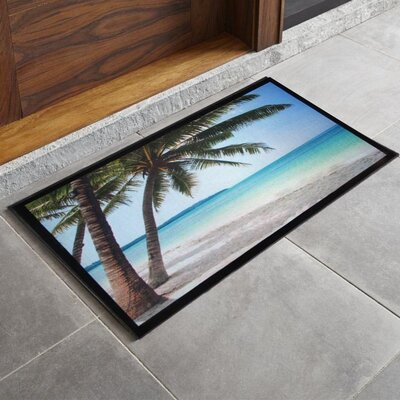 Bora Bora Palm Tree Printed Outdoor Welcome Door Mat