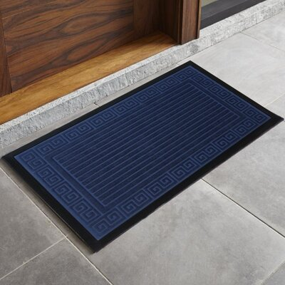 Trenton Scultped Welcome Doormat Color: Navy