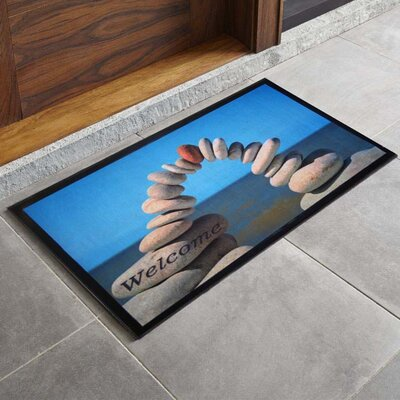 Bora Bora Stacked Stone Printed Outdoor Welcome Door Mat