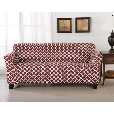 Brenna Box Cushion Sofa Slipcover Upholstery: Burgundy