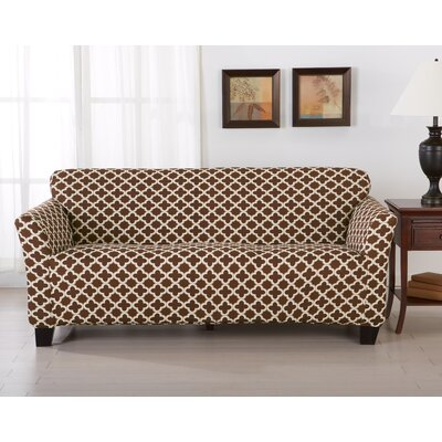 Brenna Box Cushion Sofa Slipcover Upholstery: Chocolate