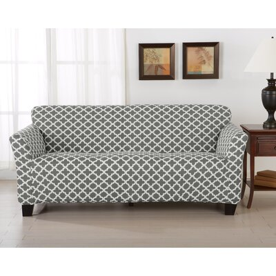 Brenna Box Cushion Sofa Slipcover Upholstery: Charcoal