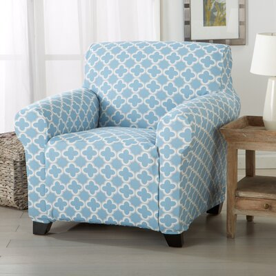 Brenna Box Cushion Armchair Slipcover Upholstery: Blue