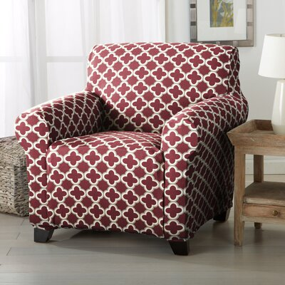 Brenna Box Cushion Armchair Slipcover Upholstery: Burgundy