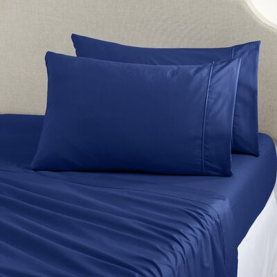 Claudette Double Brushed Luxury Sheet Set Size: Twin, Color: Navy