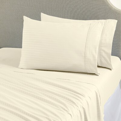 Ava Double Brushed Luxury Stripe Sheet Set Size: King, Color: Ivory