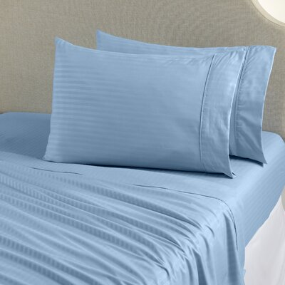Ava Double Brushed Luxury Stripe Sheet Set Size: King, Color: Starlight Blue