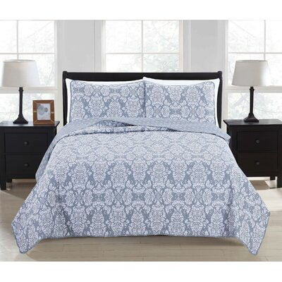Isabel 3 Piece Full/Queen Quilt Set Color: High Rise Gray